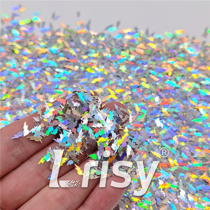 4mm Thunder Or Lightning Shaped Holographic Silver Glitter LB0100