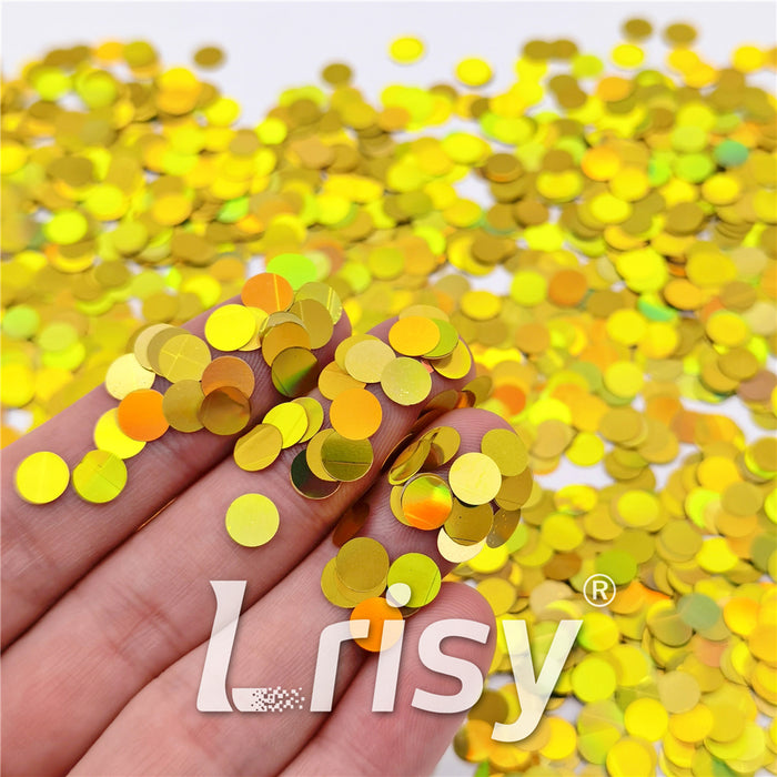 6mm Round Shaped Holographic Gold Glitter LB0210