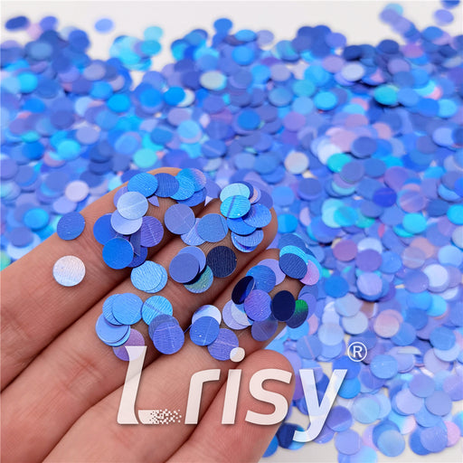 6mm Round Shaped Holographic Sea Blue Glitter LB0709