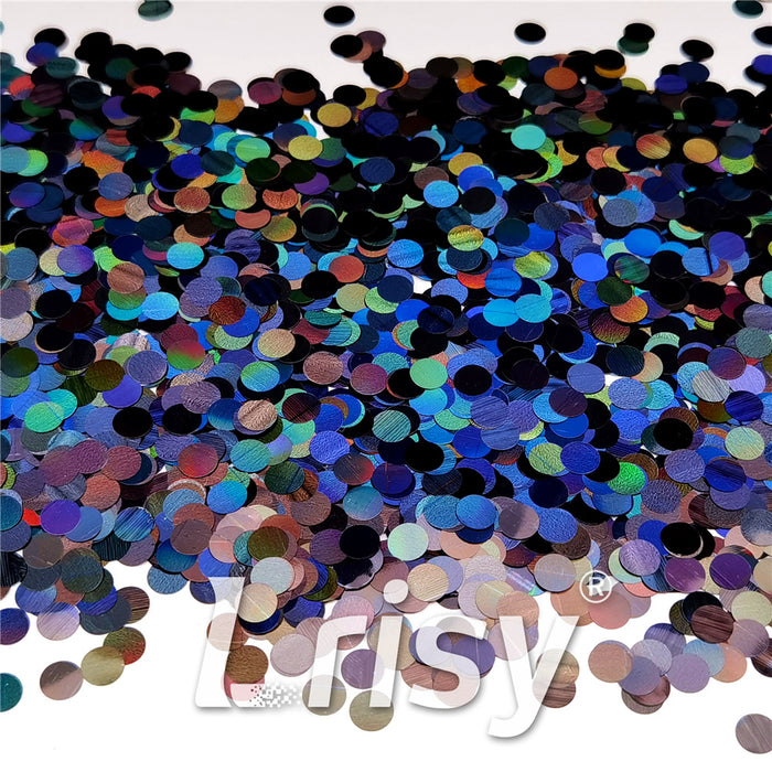 6mm Round Shaped Holographic Black Glitter LB01000
