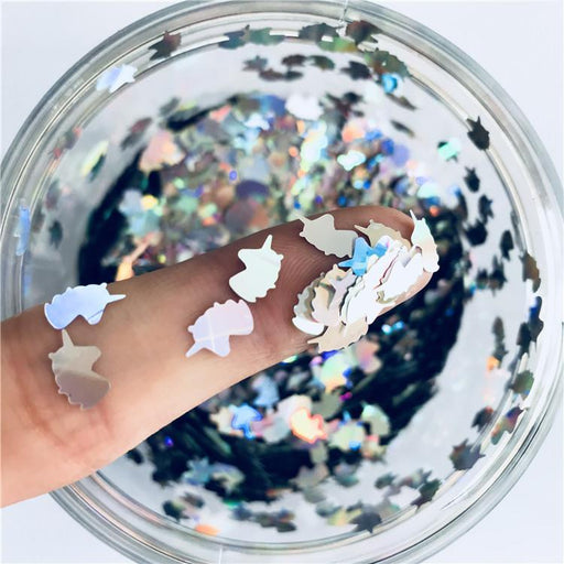 Unicorn Shapes Laser Silver Glitter LB0100