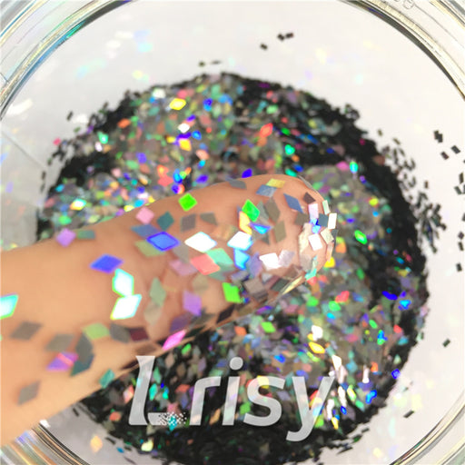 Holographic Black Metal 2mm Rhombic Shaped Translucent Glitter LB01002