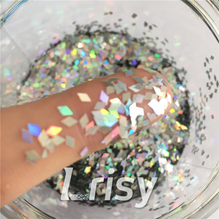 Holographic Silver 2mm Rhombic Shaped Translucent Glitter LB0100