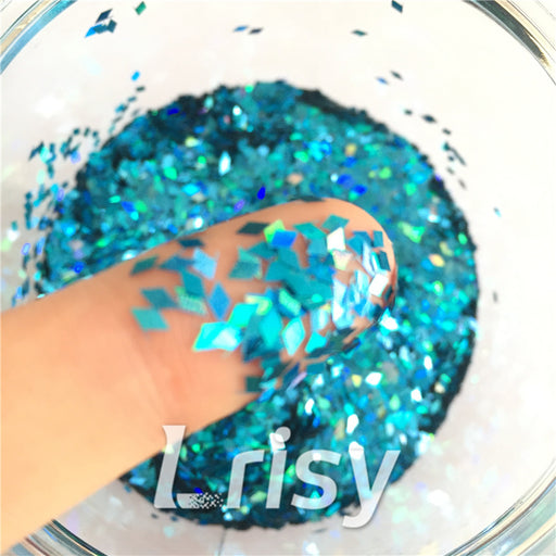 Holographic Sky Blue 2mm Rhombic Shaped Translucent Glitter LB0700