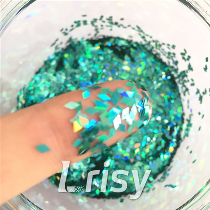 Holographic Teal Green 2mm Rhombic Shaped Translucent Glitter LB0702