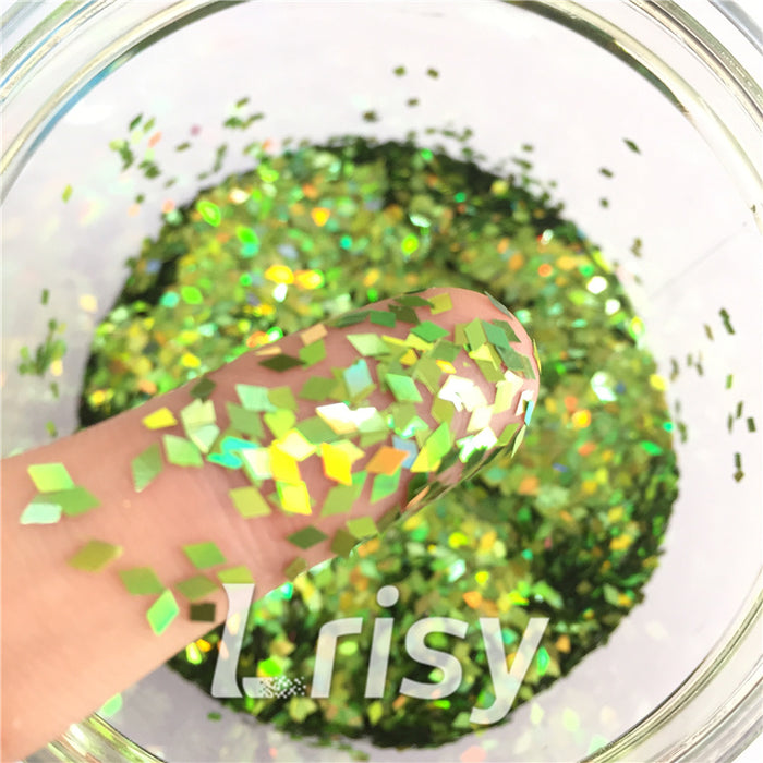 Holographic Green 2mm Rhombic Shaped Translucent Glitter LB0601