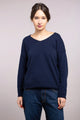 Rolled Hem V-Neck Sweater