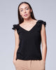 Black Cotton Elegant Ruffled Shoulder V-Neck Tank Top