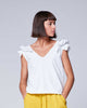 White Cotton Elegant Ruffled Shoulder V-Neck Tank Top