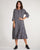 Cotton Tile Print Pleated Tier Long Sleeve Maxi Dress