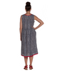 Sleeveless Linen Stripe Smock Dress