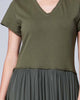 Khaki Short-Sleeve Drop-Waist V-Neck Accordion Loose Fit Cotton Dress
