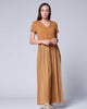 Camel Short-Sleeve Drop-Waist V-Neck Accordion Loose Fit Cotton Dress