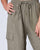 Khaki Linen Elastic Drawstring Waist Cargo Ankle Length Pant With Pockets