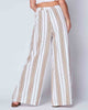 White Camel Striped Elastic Waist Wide-Fit Full-Length Casual Classy Palazzo Pant