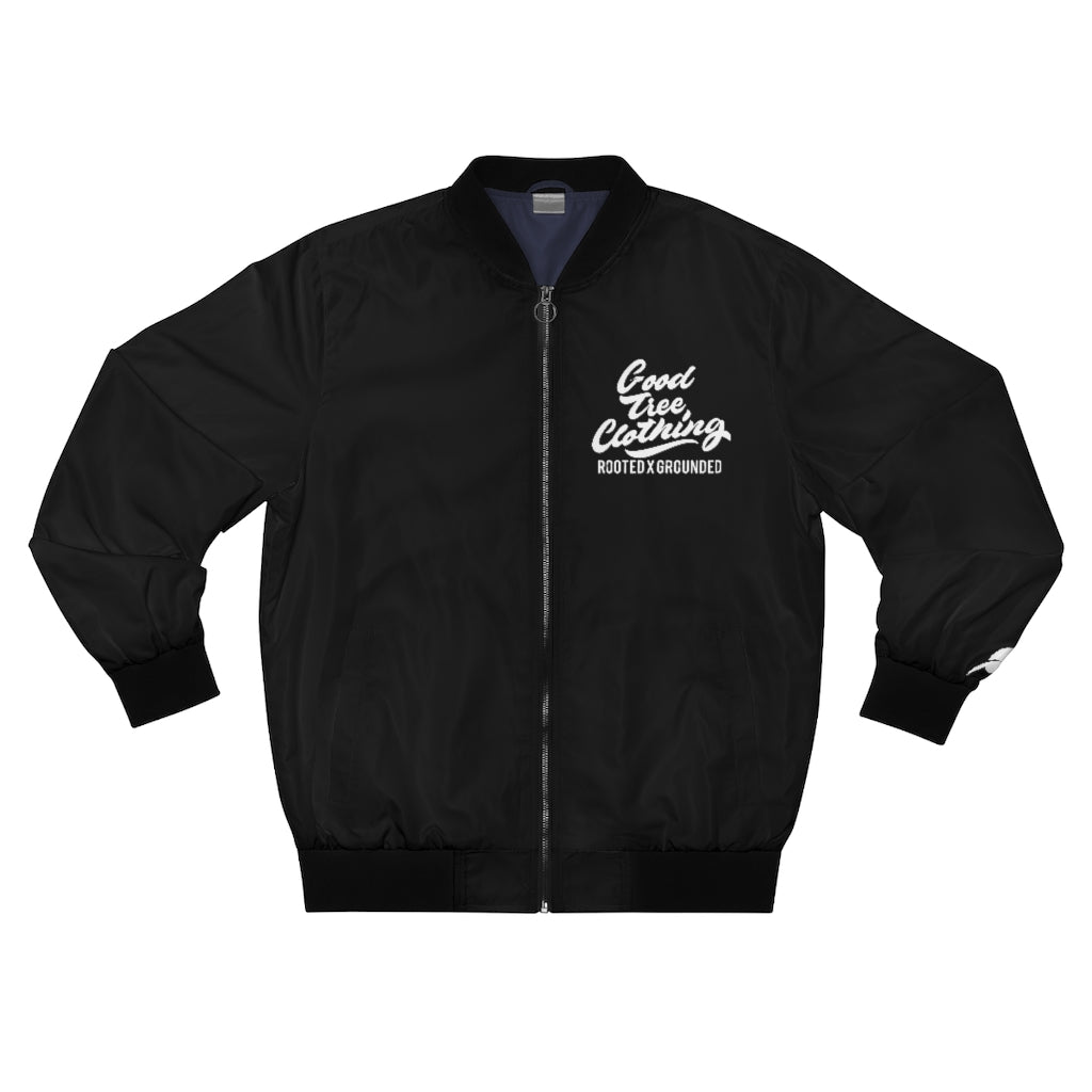 """Big Leaf"" Bomber Jacket-Black"