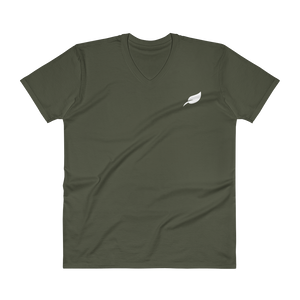 V-Neck Embroidered Leaf Logo