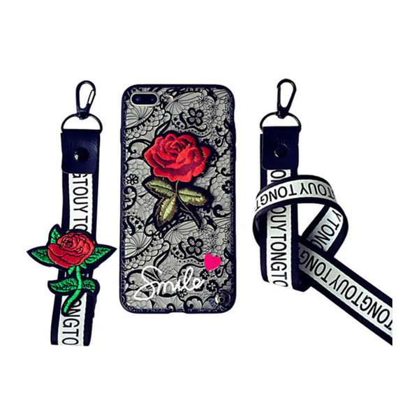 Lace Rose iPhone Case Black