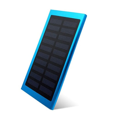 LCD 10000mah Solar Power Bank 2xUSB Blue