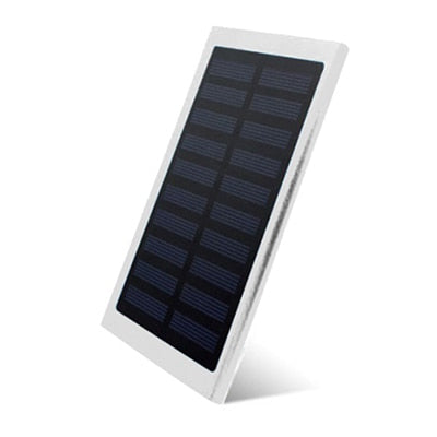 LCD 10000mah Solar Power Bank 2xUSB Silver