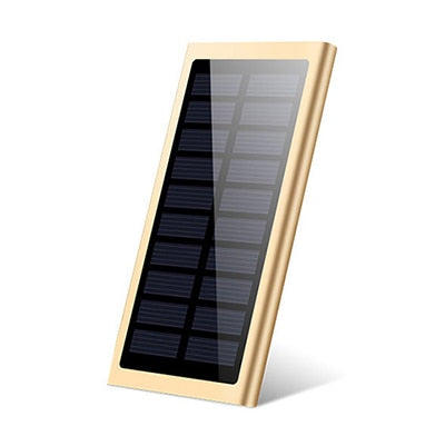 LCD 10000mah Solar Power Bank 2xUSB Gold