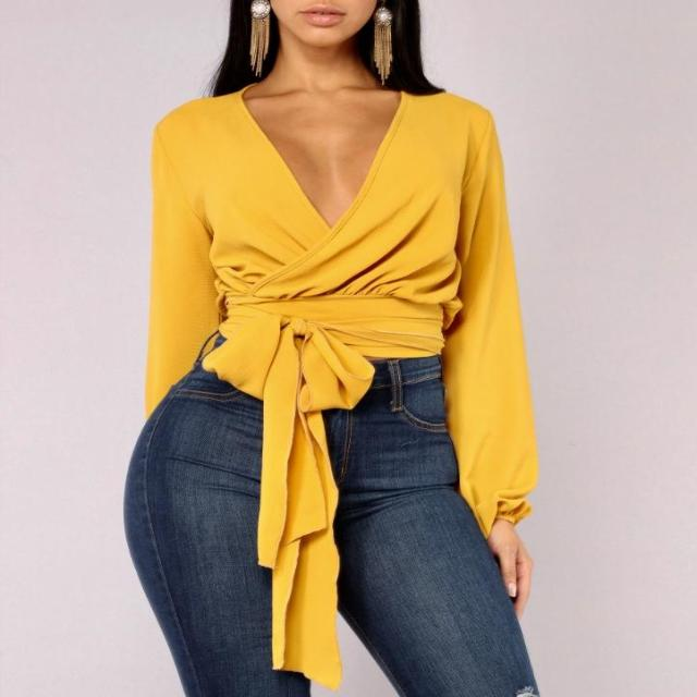 Mustard Cropped Wrap Top , TOPS, - Closet Envy Boutique, women's fashion