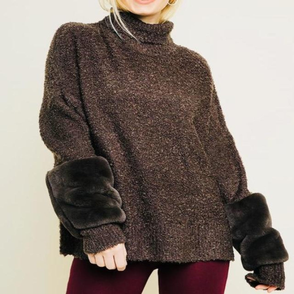 Brown Fur Sleeve Sweater , TOPS, - Closet Envy Boutique, women's fashion