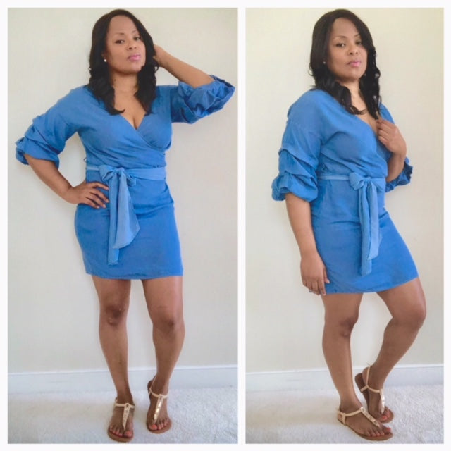 Lia belted Denim Dress , dress, - Closet Envy Boutique, women's fashion