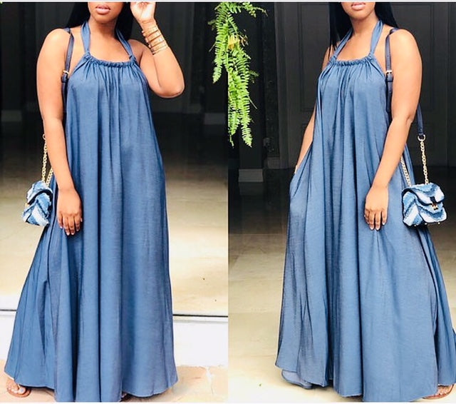 Denim Halter Maxi Dress , dress, - Closet Envy Boutique, women's fashion