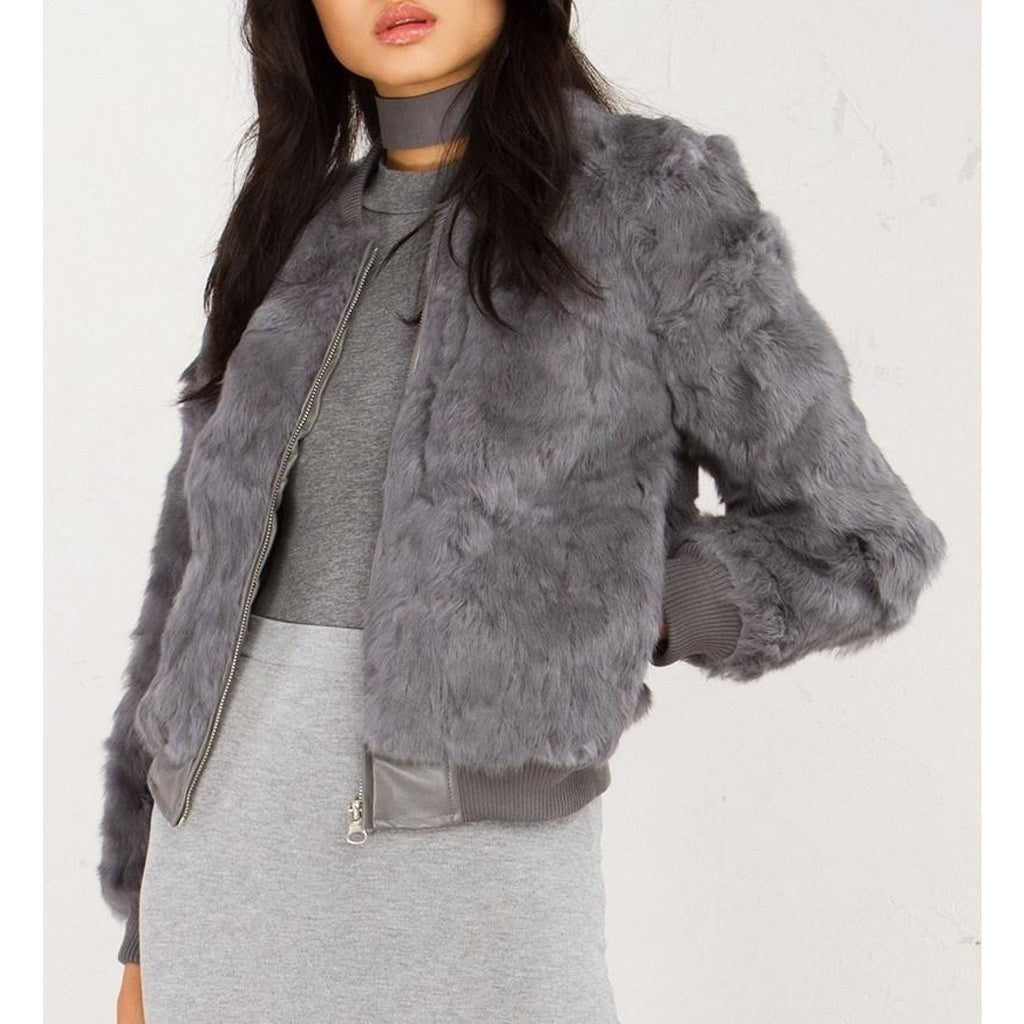 Gray Fur Jacket , outerwear, - Closet Envy Boutique, women's fashion