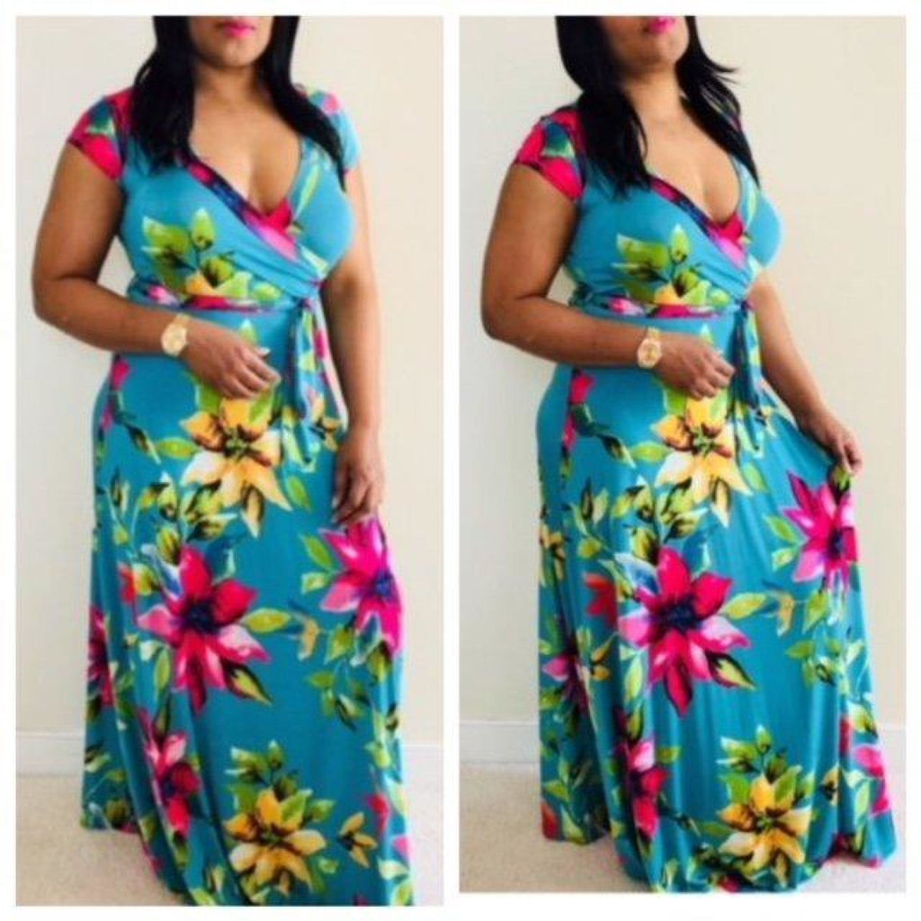 Floral Wrap Maxi Dress , dress, - Closet Envy Boutique, women's fashion