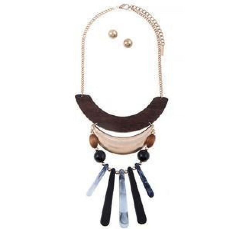 Brown & Wooden Necklace Set , jewelry, - Closet Envy Boutique, women's fashion