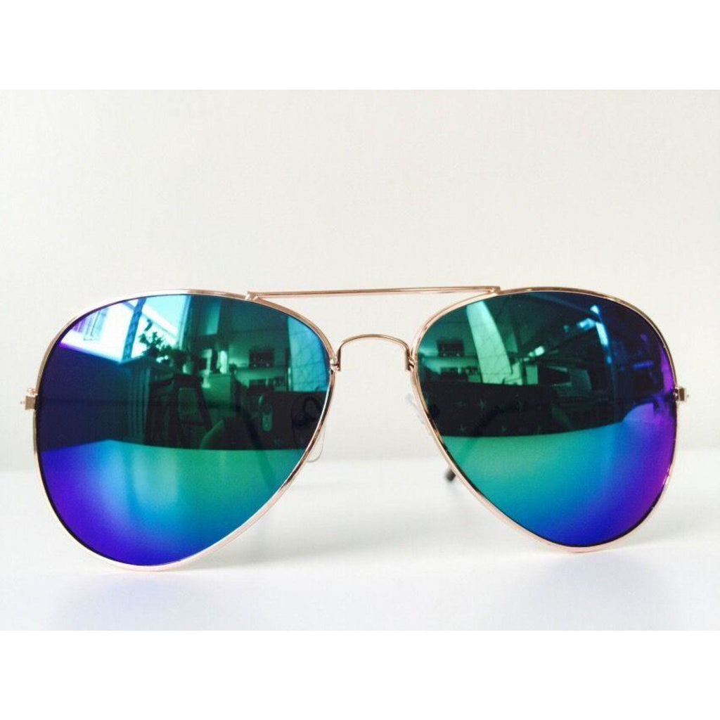 Blue & Green Reflective Sunglasses , sunglasses, - Closet Envy Boutique, women's fashion