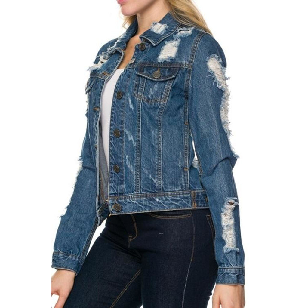 Torn Denim Jacket , outerwear, - Closet Envy Boutique, women's fashion