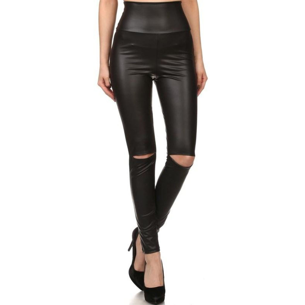 Plus Size Cut Out Vegan Leather Leggings , curvy, - Closet Envy Boutique, women's fashion