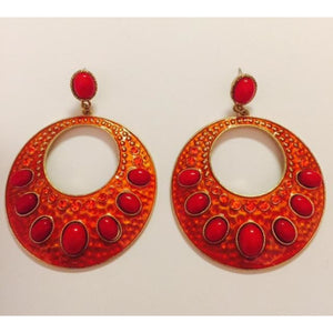 Orange & Fuchsia Circle Earrings , jewelry, - Closet Envy Boutique, women's fashion