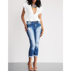 Distressed Cropped Denim , BOTTOMS, - Closet Envy Boutique, women's fashion