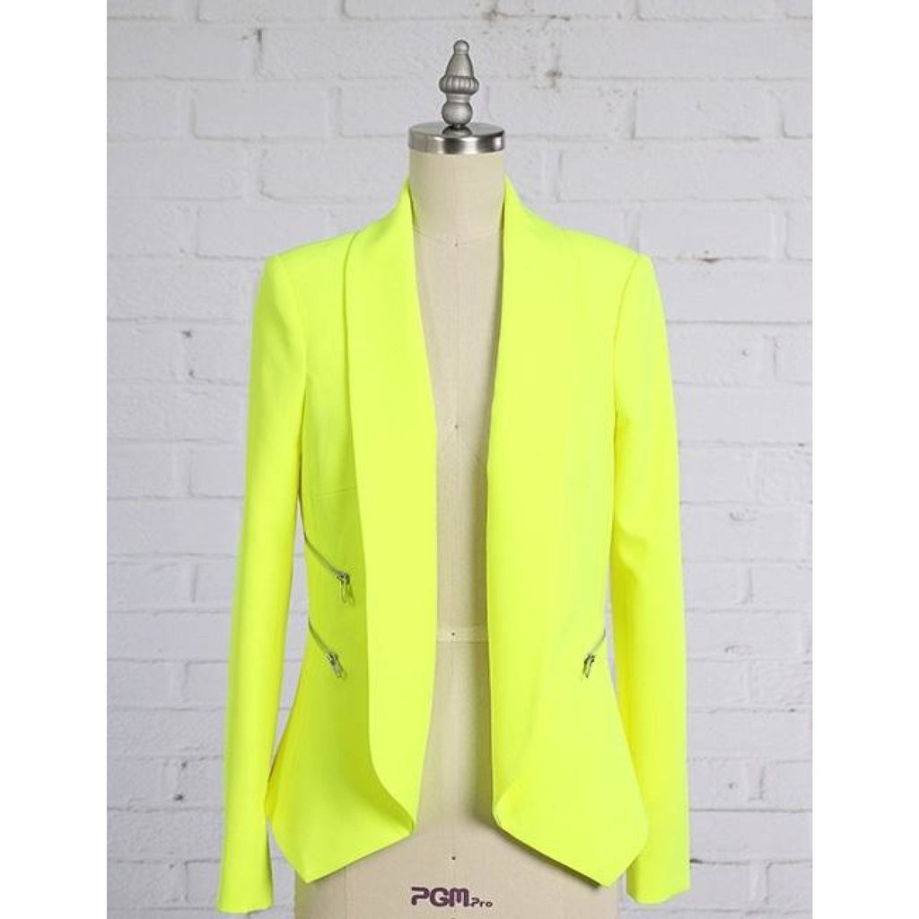 Neon Yellow Zipper Blazer , outerwear, - Closet Envy Boutique, women's fashion