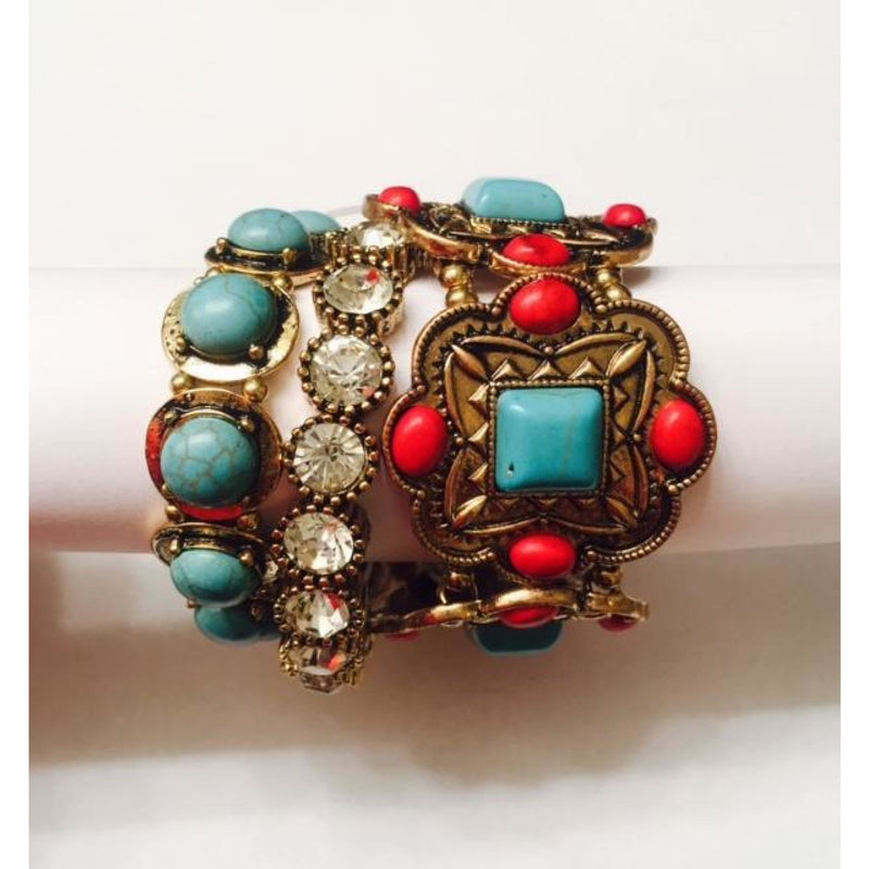 Turquoise & Red Stretch Bracelets , jewelry, - Closet Envy Boutique, women's fashion