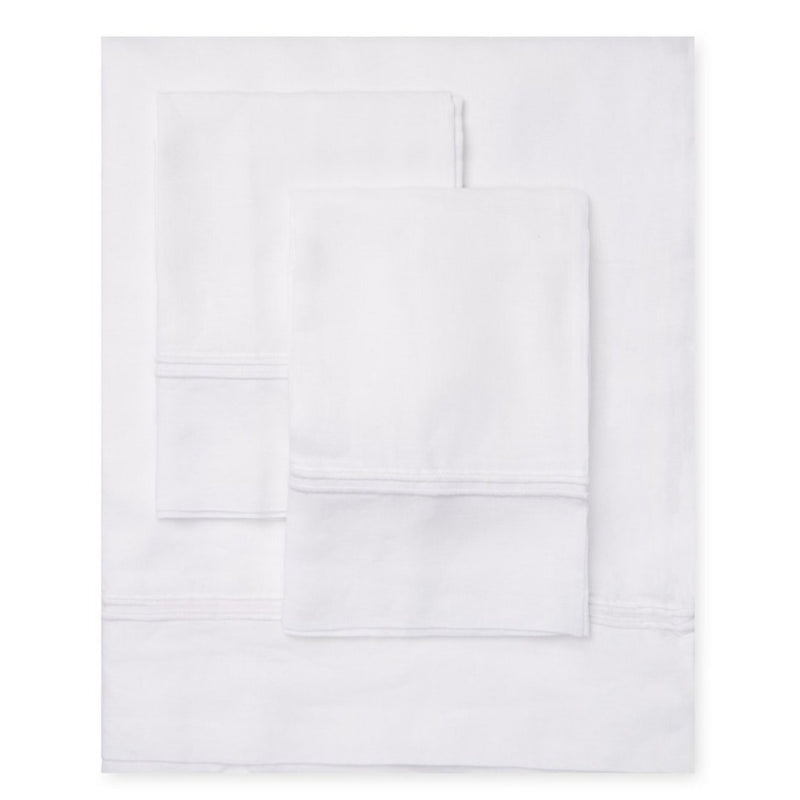 Linen Two Stripe Embroidered Sheet Set