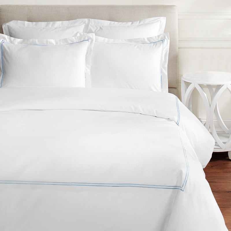 600 Thread Count Two Stripe Embroidered Duvet Set