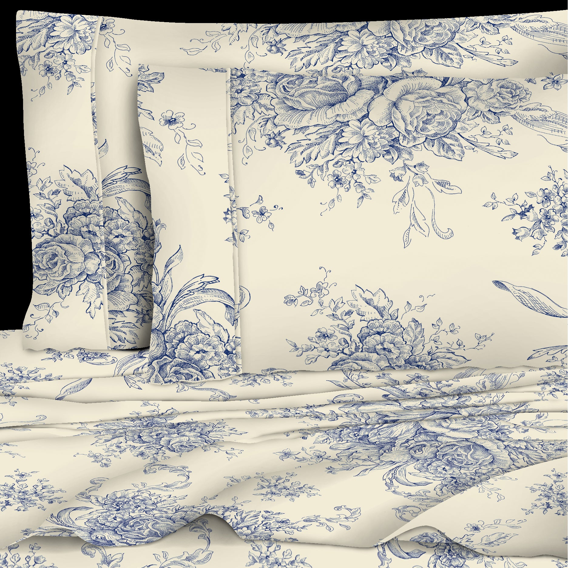 400 Thread Count 100 Cotton Toile Sheet Set Laytner S Linen Home