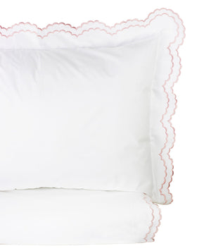 Double Scallop Embroidered Percale Duvet Set