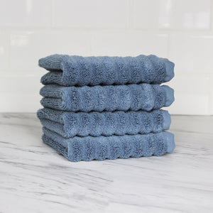 Zero Twist Turkish Ribbed 4 Piece Wash Towel Set