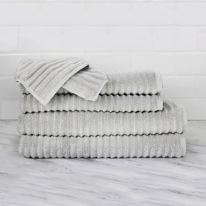 Ribbed 100% Turkish Cotton 6 Piece Ensemble Towel Set