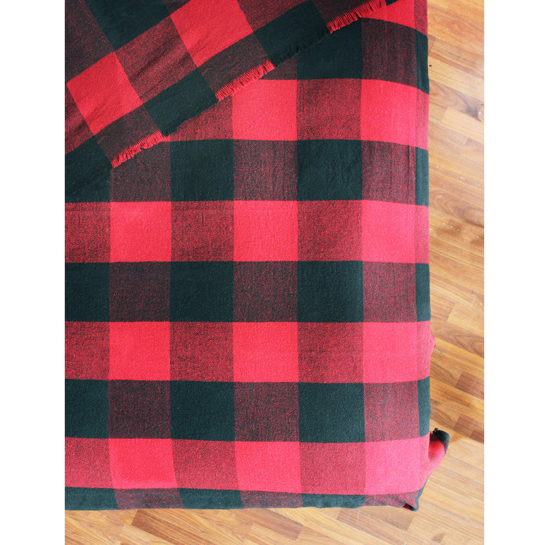 BUFFALO PLAID WOOL BLEND BLANKET