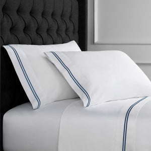 600 Thread Count Two Stripe Embroidered Sheet Set