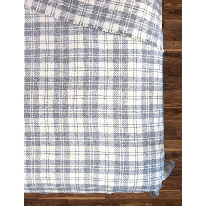 GRANITE PLAID WOOL BLEND BLANKET