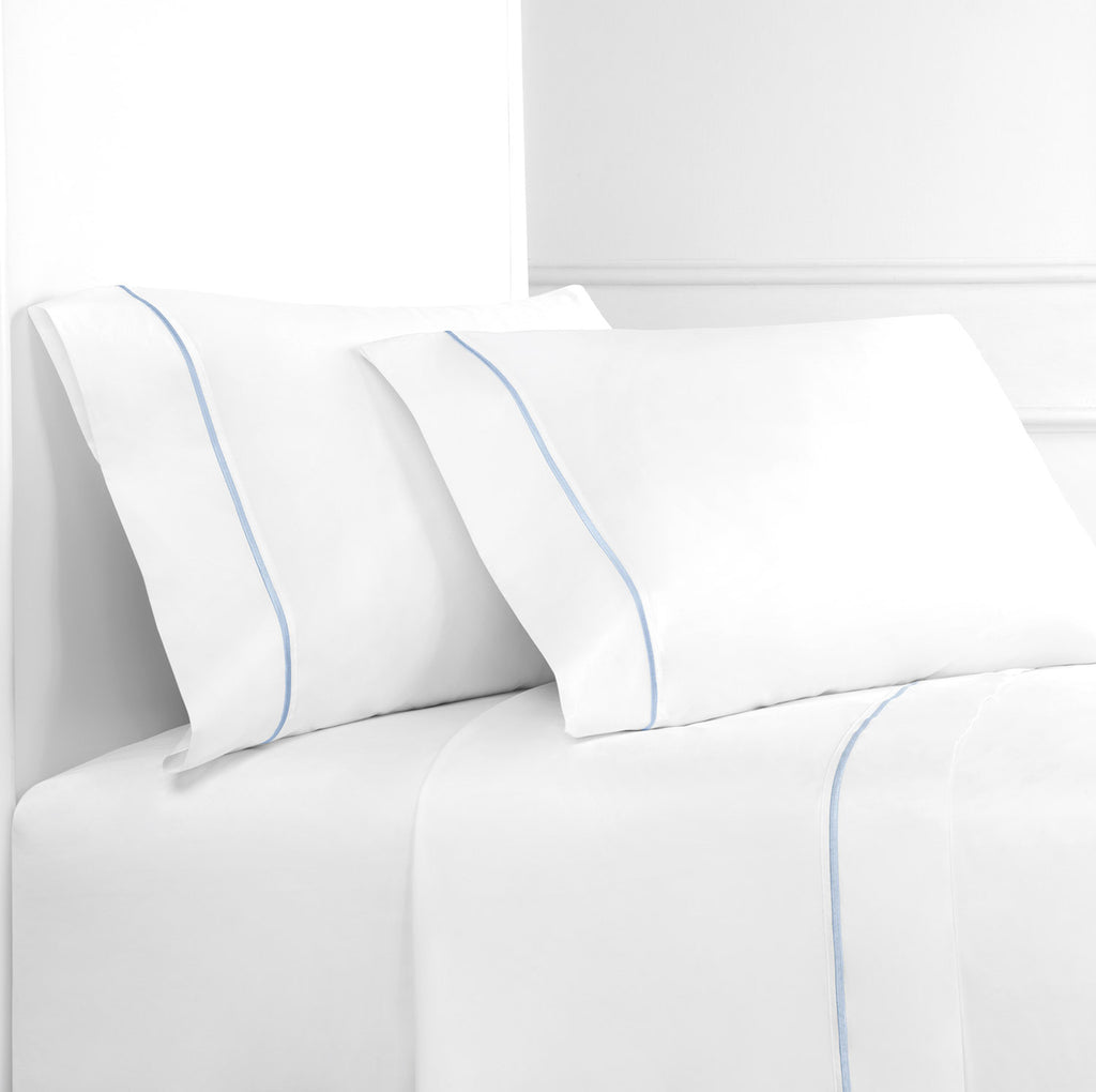 Single Stripe Embroidered Percale Sheet Set