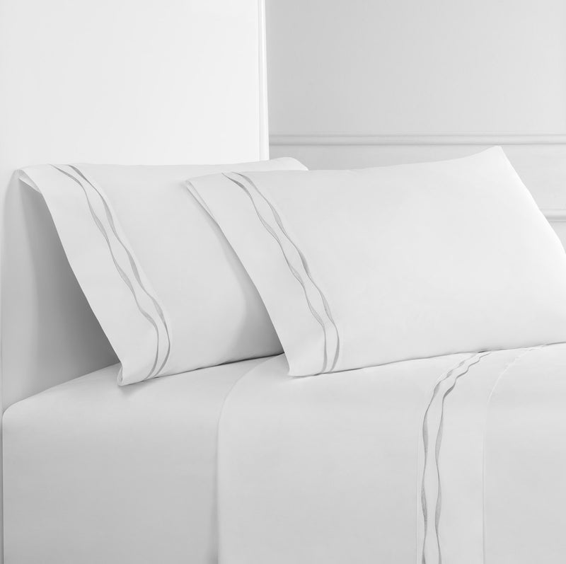 Wavy Stripe Embroidered Percale Sheet Set